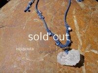 ヒマラヤの聖者∞ニルヴァーナクォーツ(アイスクリスタル)・ラブラドライト・グレームーンストーン・水晶・大麻藍染め