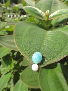 他の写真1: 虹のうたセレクト ∞ emew jasmine  ラリマー&あやこ真珠ピアス【片耳】 14kgf