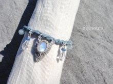 他の写真2: ホワイトラブラドライト・水晶 ・カイヤナイト・アクアマリン セラフィナイト・真鍮・シルク(藍 麻炭染)