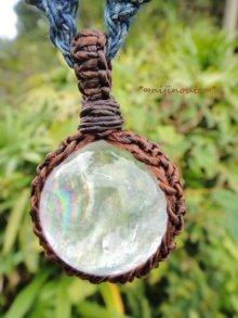 他の写真3: 虹の水晶・手つむぎ藍染麻